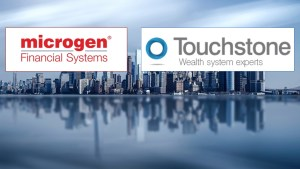 Microgen and Touchstone logos on a skyline