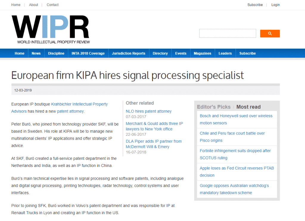 """Media mentions for Press release: """"European firm KIPA hires signal processing specialist"""""""