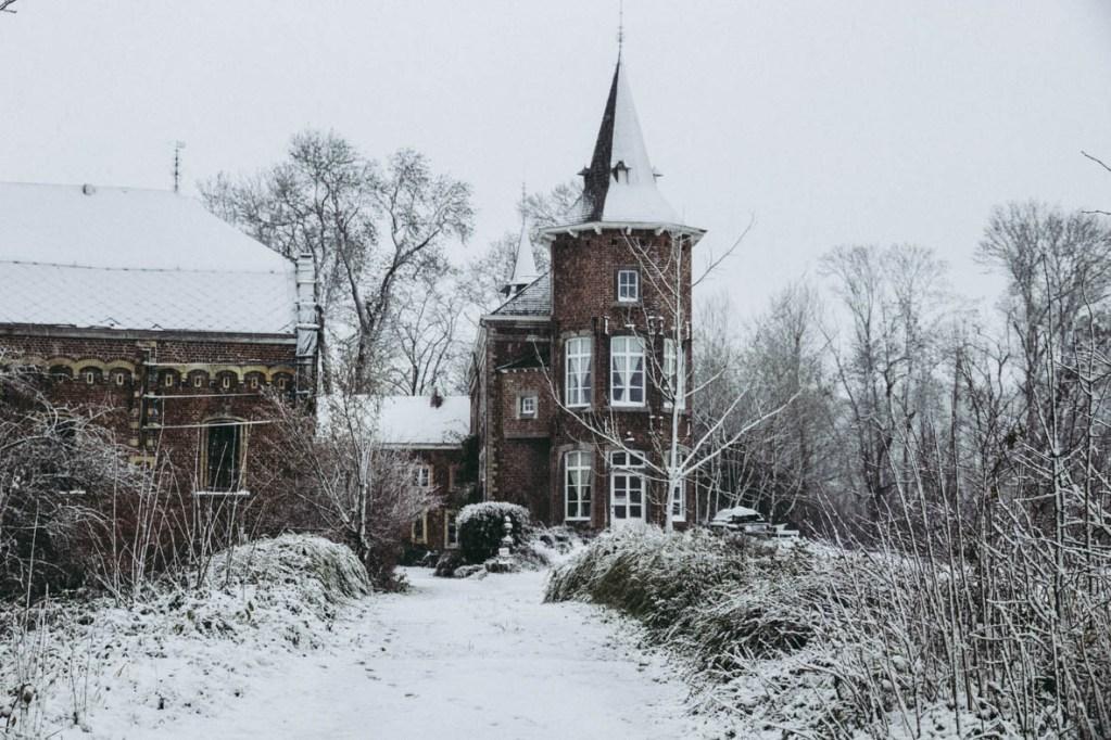 Kasteel Nieuwenhoven, Sint-Truiden, december 2017, sneeuw.
