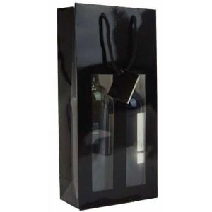 Gavepose til 2x flasker i sort