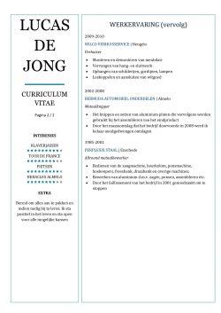 CV Voorbeeld Chesterfield (Blue Light) 2/2, originele cv maken voor sollicitatie, pagina 2