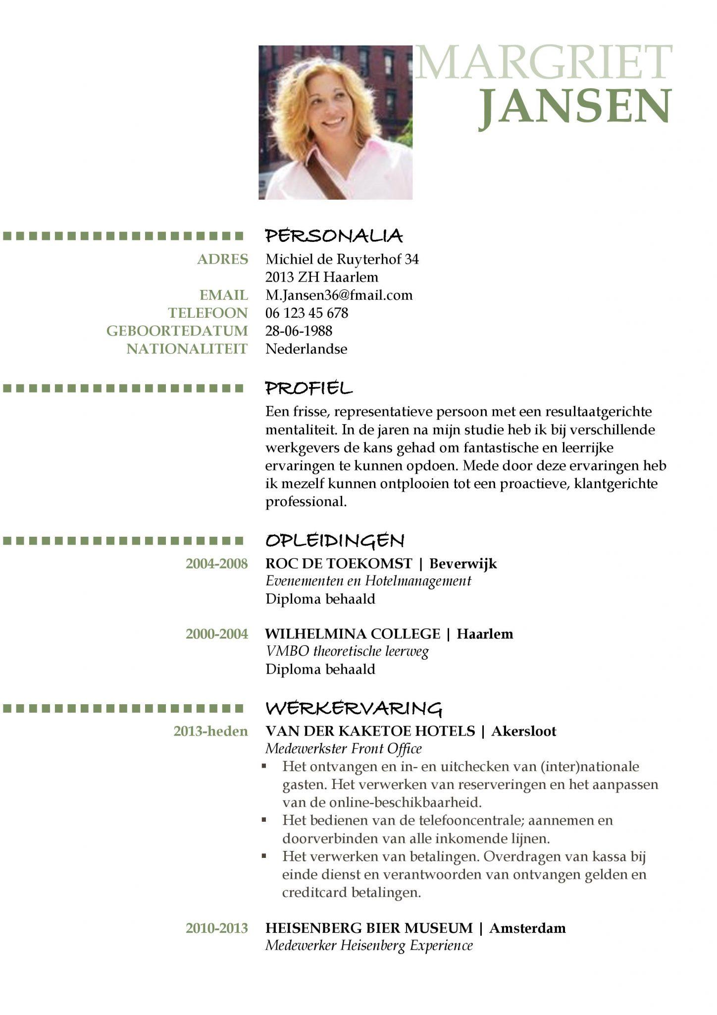 CV Voorbeeld (Green Night) 1/2   Sollicitatiebijbel.nl
