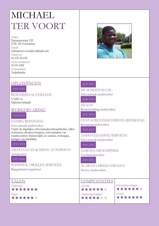 CV Voorbeeld Kingston (Violet Blue), cv productie medewerker, cv schoonmaker, cv violet lila paars thema