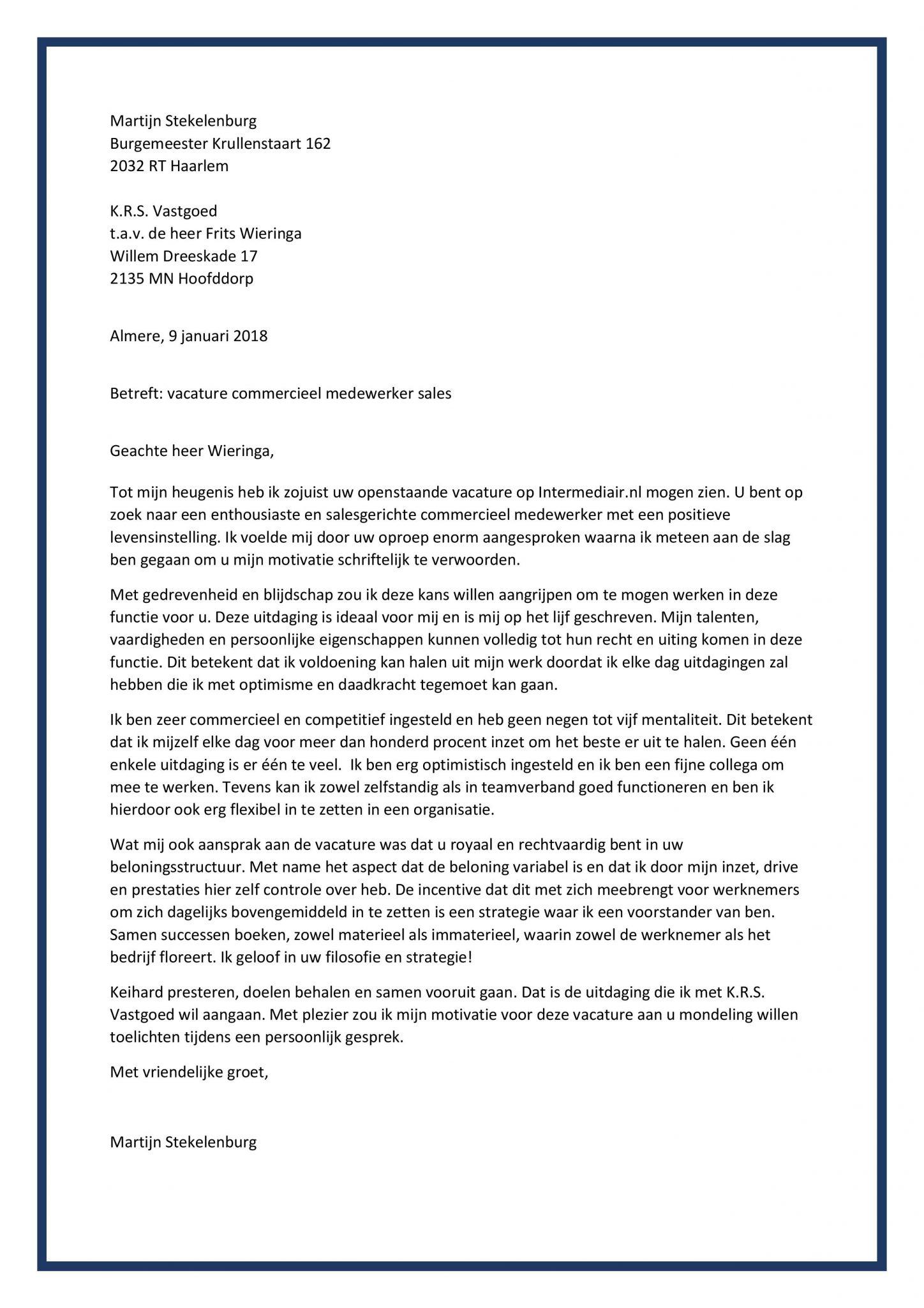 voorbeeld motivatiebrief commercieel medewerker binnendienst Sollicitatiebrief Commercieel Medewerker | De Beste Sales Brief