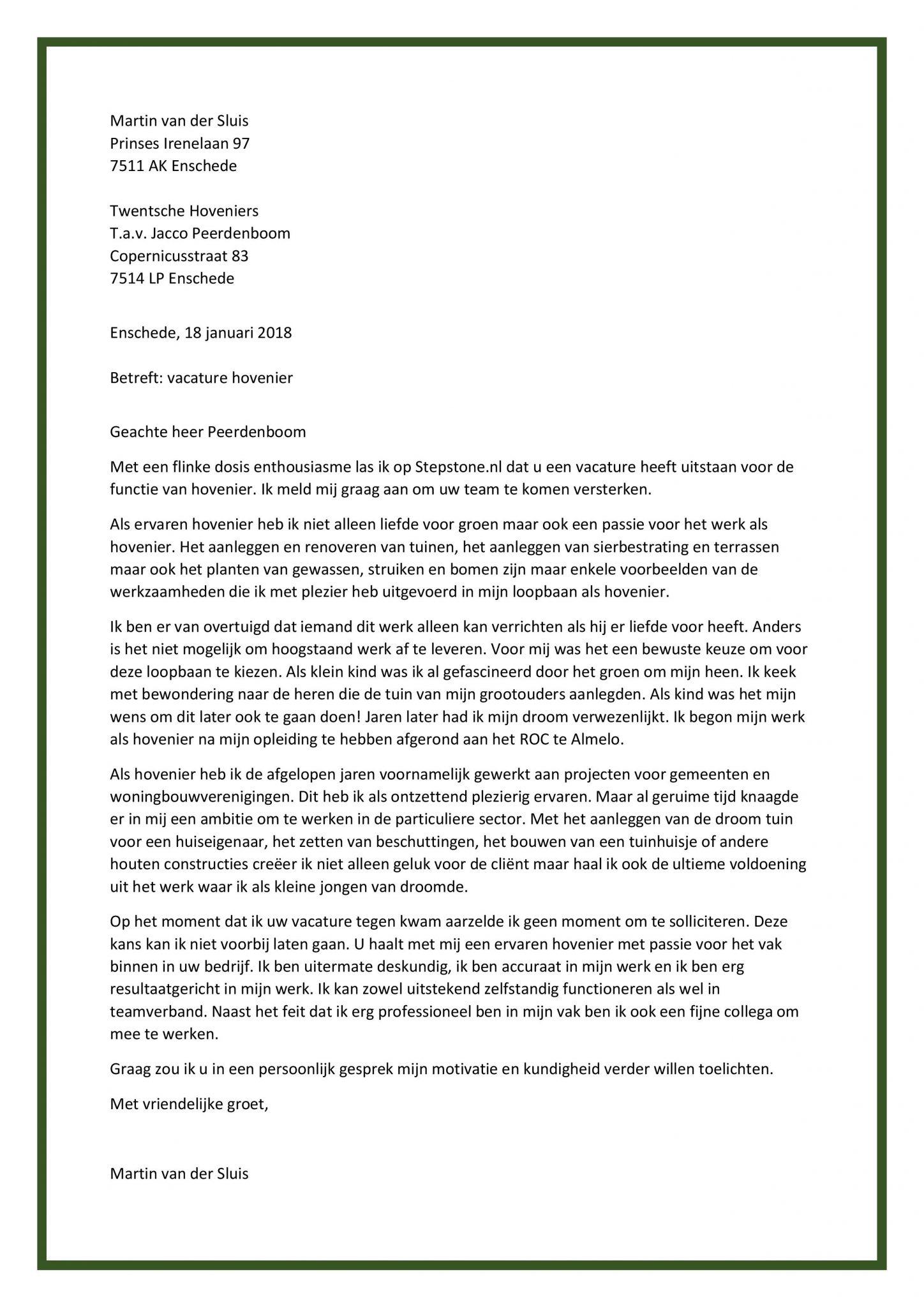 sollicitatiebrief groenvoorziening Sollicitatiebrief Hovenier | Beste Motivatiebrief voor in de  sollicitatiebrief groenvoorziening