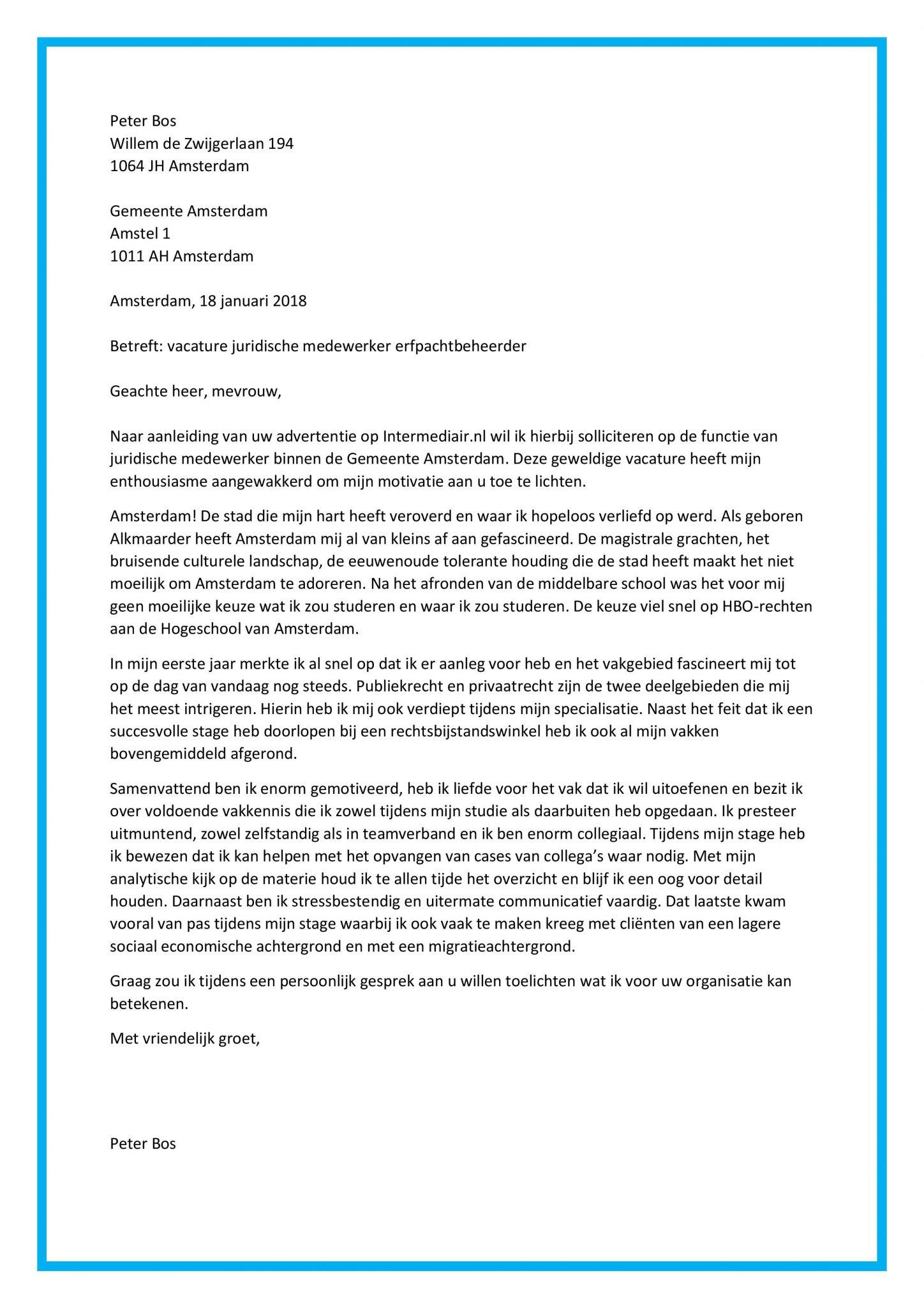open sollicitatie gemeente amsterdam Open Sollicitatie Gemeente Amsterdam | Voorbeeldbrief 2019