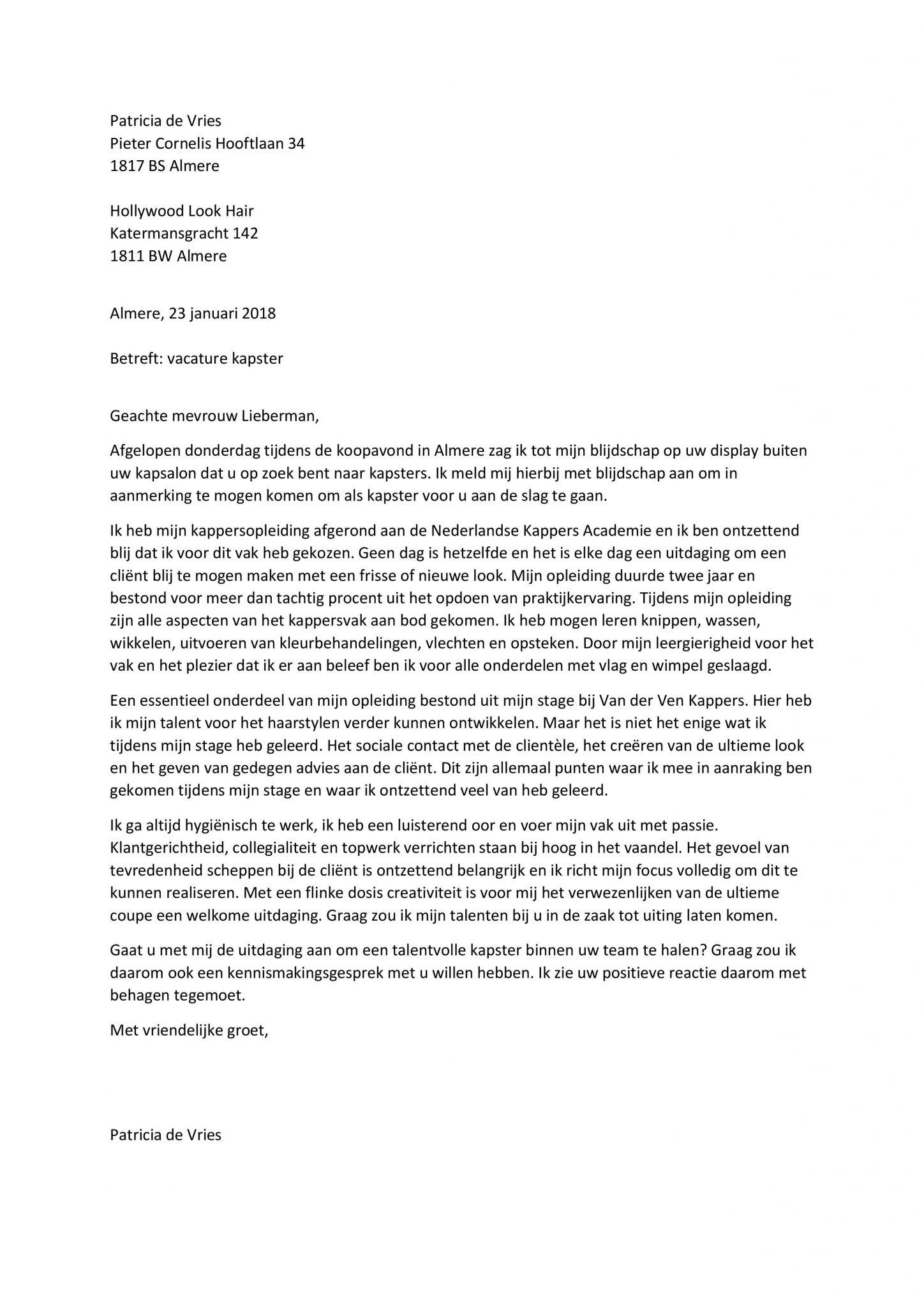 sollicitatiebrief kapster Sollicitatiebrief Kapster | De Unieke Motivatiebrief Voor De  sollicitatiebrief kapster