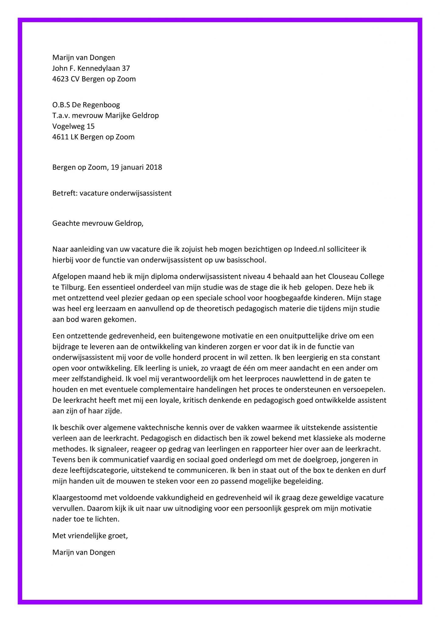 sollicitatiebrief starter Sollicitatiebrief Onderwijsassistent (starter)   Sollicitatiebijbel.nl sollicitatiebrief starter