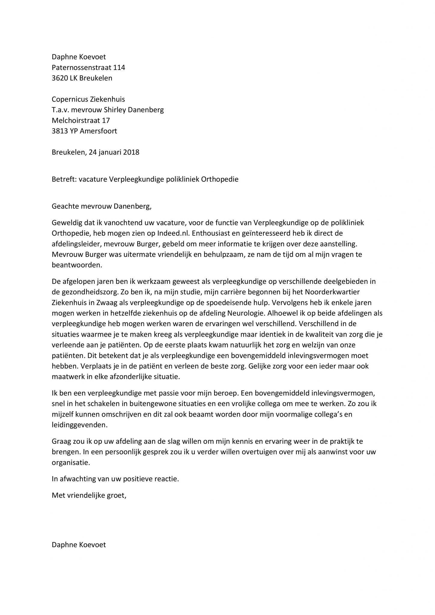 Sollicitatiebrief Verpleegster | Top Brief Voor De Ervaren