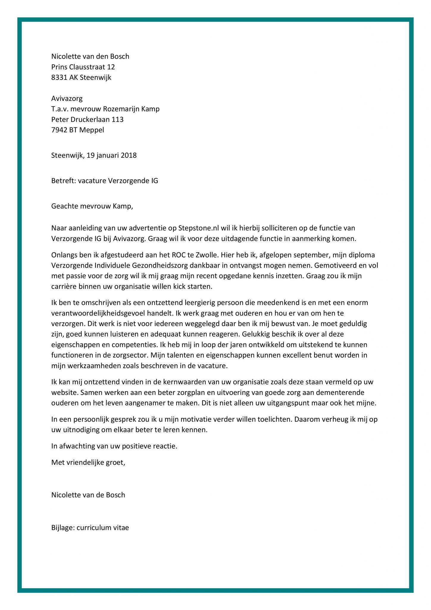 Sollicitatiebrief Verzorgende IG | Zen Welzijn Motivatiebrief