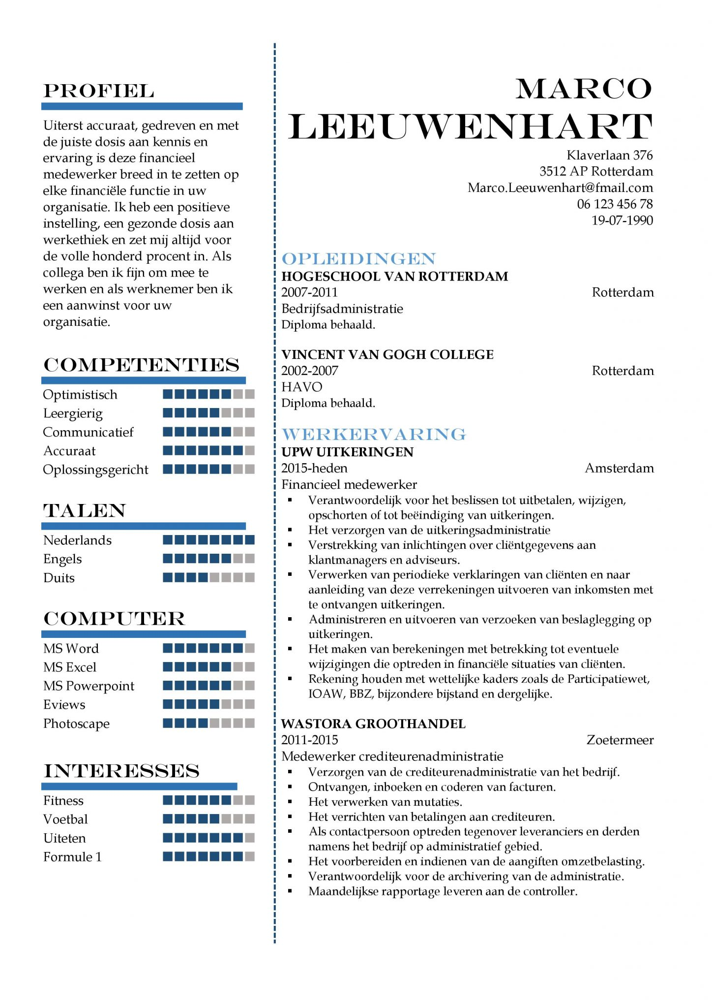 CV Sjabloon Greenwich | Top CV Template | Inhoud: Financieel
