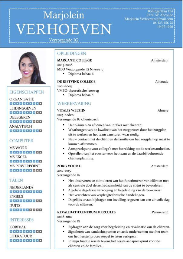 CV Sjabloon Ipswich 1-1, voorbeeld cv verzorgende IG, verpleegkundige