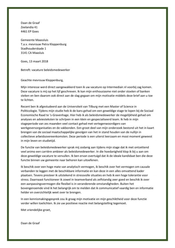 voorbeeld sollicitatiebrief beleidsmedewerker Sollicitatiebrief Voorbeelden   Gratis bij Sollicitatiebijbel.nl voorbeeld sollicitatiebrief beleidsmedewerker