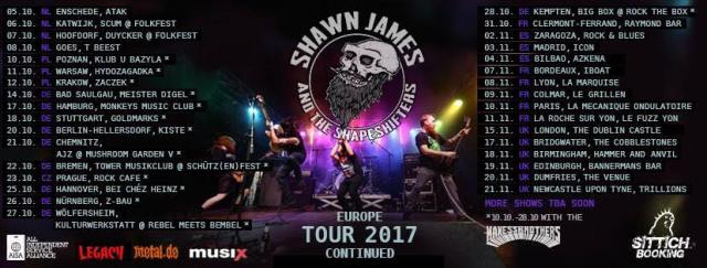 Gira europea Shawn James and the Shapershifters