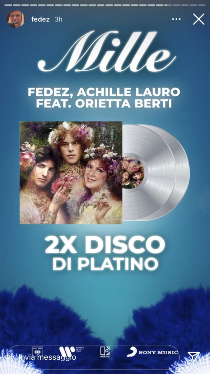 21:00 & # 8211;  Fedez: Mille is on its second platinum record