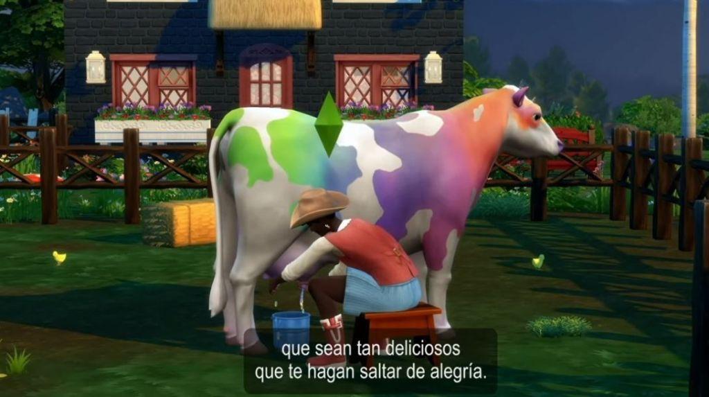 Los-Sims-4-Vida-en-el-pueblo-vaca-arcoiris-screenshots
