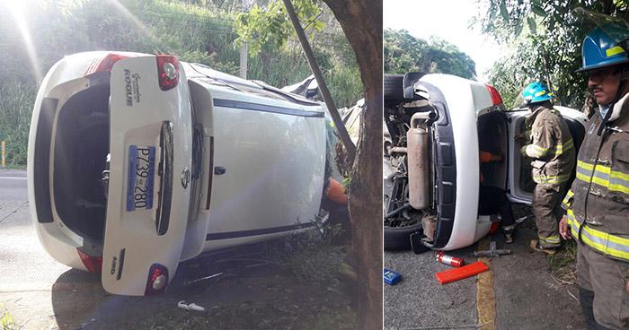 Tres lesionados deja accidente de tránsito en la autopista a Comalapa