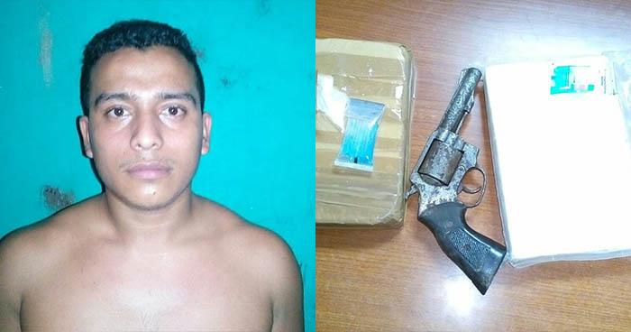 Policía capitalina sorprende a pandillero con un revolver y porciones de cocaína