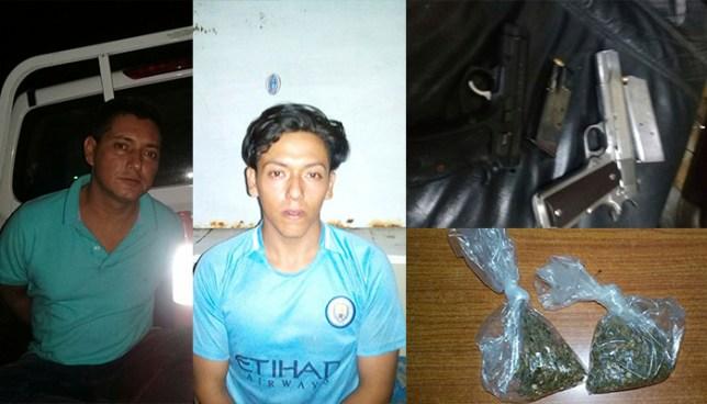 PNC captura en la ciudad de San Salvador a sujetos con armas de fuego y droga