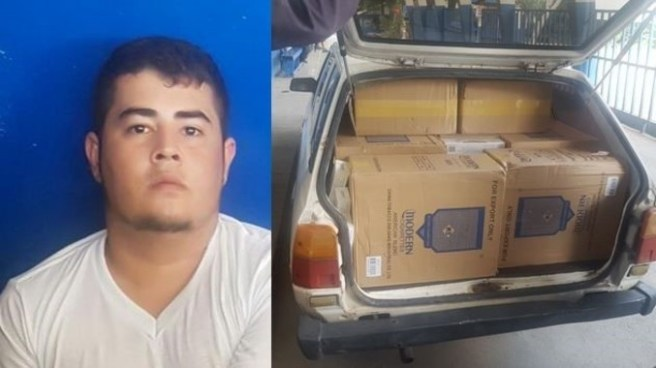 Capturan a sujeto decomisándole mil paquetes de cigarrillos por contrabando de mercadería