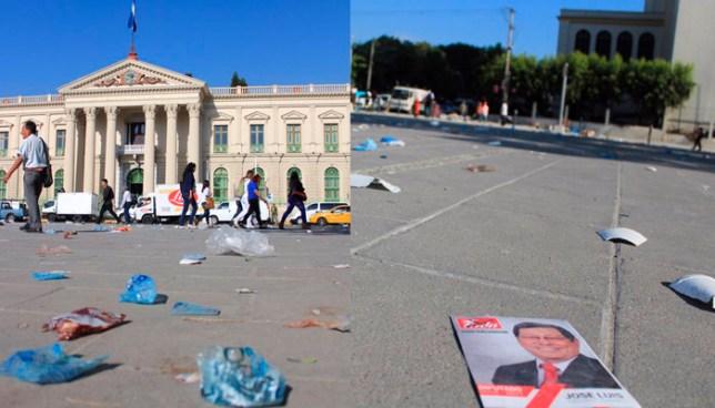 Dejan lleno de basura la plaza del centro histórico luego del cierre de campaña de Jackeline Rivera