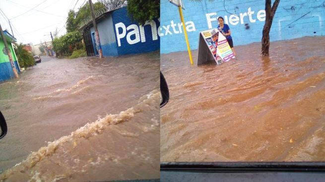 Lluvias provocan inundaciones en calles de San Miguel