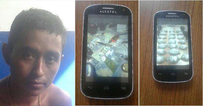 Fotografías en un celular delatan a distribuidor de droga en Ahuachapán