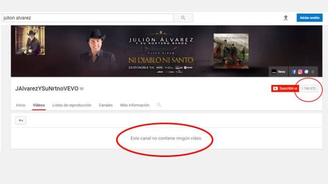 YouTube desaparece los vídeos de Julión Álvarez