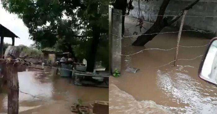 Río Goascorán se desborda y causa daños a varias viviendas en Pasaquina