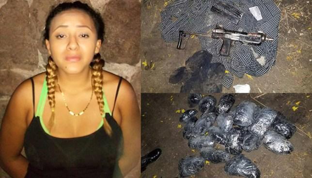 Capturan en el barrio La Vega a pandillera con una subametralladora y paquetes de droga