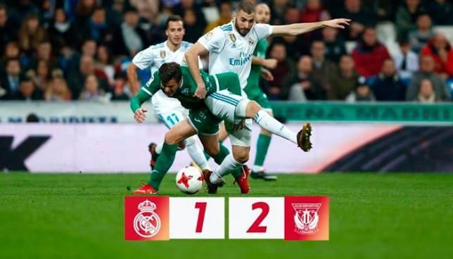 El Leganés vence al Real Madrid en casa y lo elimina de la Copa del Rey
