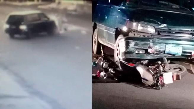 Cámara de seguridad capta accidente de transito entre automóvil y moto en El Refugio, Ahuachapán