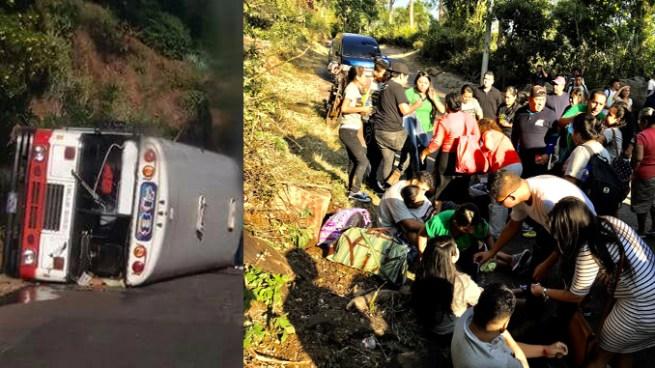 Varios heridos tras vuelco de autobús en carretera al Lago de Coatepeque, Santa Ana