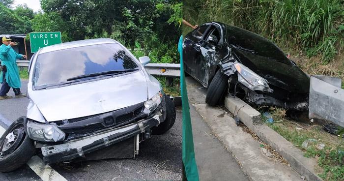 Dos vehículos accidentados en carretera de Oro