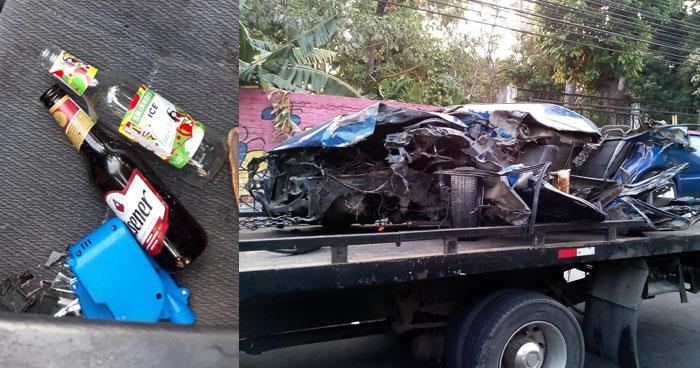 Encuentran envases de cerveza adentro del vehículo involucrado en el accidente del Bulevar Monseñor Romero