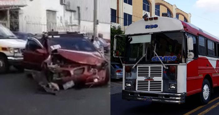 Choque entre particular y autobús en San Salvador deja al menos 10 lesionados