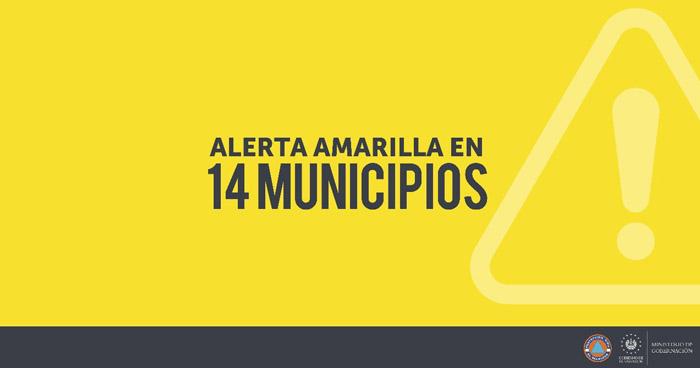 Emiten Alerta Amarilla en 14 municipios del país y Alerta Verde a nivel nacional por lluvias