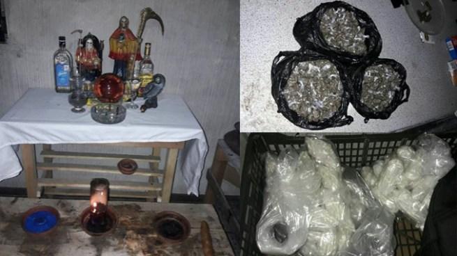 Un altar, drogas y dinero fue lo que encontraron en una casa de la colonia Escalón
