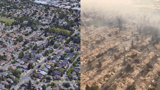 El antes y después de los incendios en el norte de California