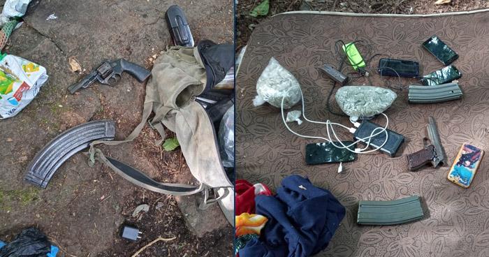 Encuentran armas y droga en campamento de pandilleros en San Vicente