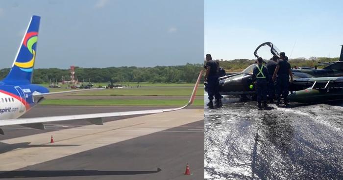 Avión A37 de la Fuerza Armada aterriza de emergencia en aeropuerto Monseñor Romero