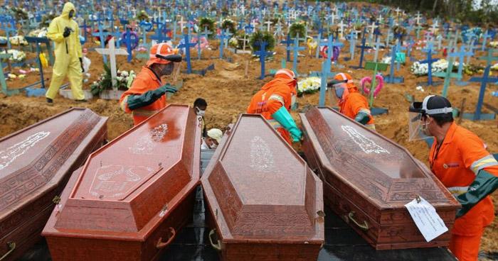 Brasil registra 1.179 muertes a causa de COVID-19 en el último día
