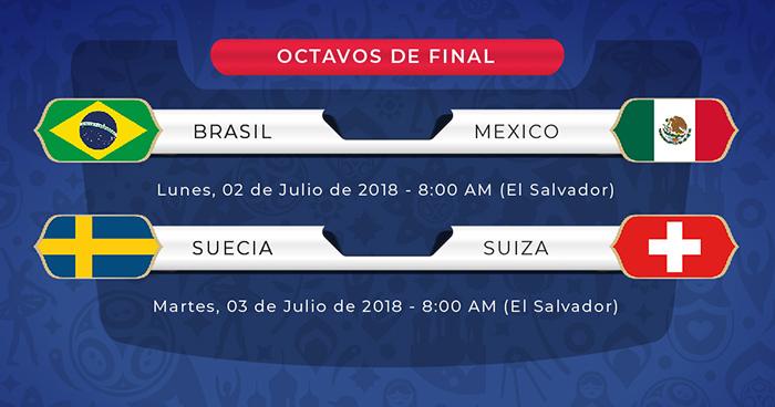 Listas otras llaves de Octavos: Brasil vs México y Suecia vs Suiza