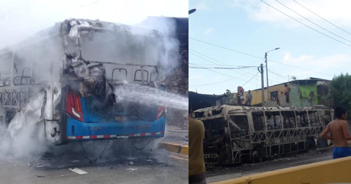 Bus de la ruta 8 se incendia en las cercanías del Paso del Jaguar en la autopista a Comalapa