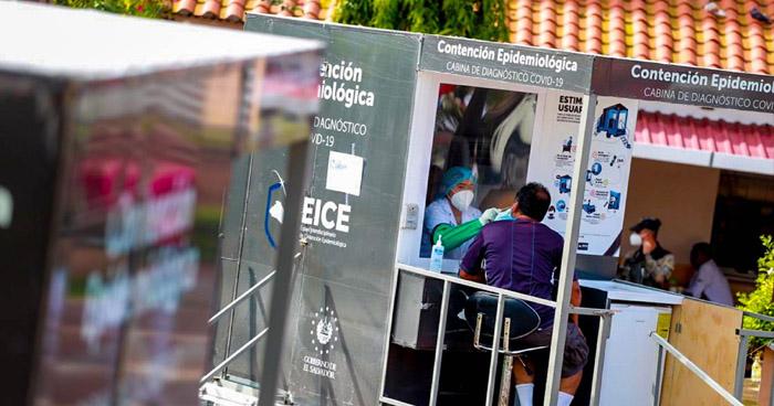 Instalan cabinas diagnóstico de COVID-19 en Santiago Nonualco, La Paz