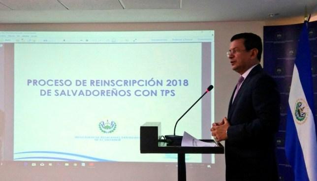 """Canciller de la república: """"Más de 175 mil salvadoreños se reinscribieron por última vez al TPS"""""""