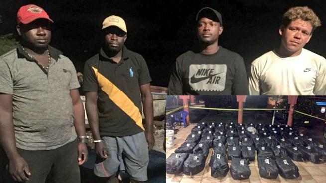 Arrestan a 3 colombianos y 1 guatemalteco por transportar más de una tonelada de droga en Acajutla