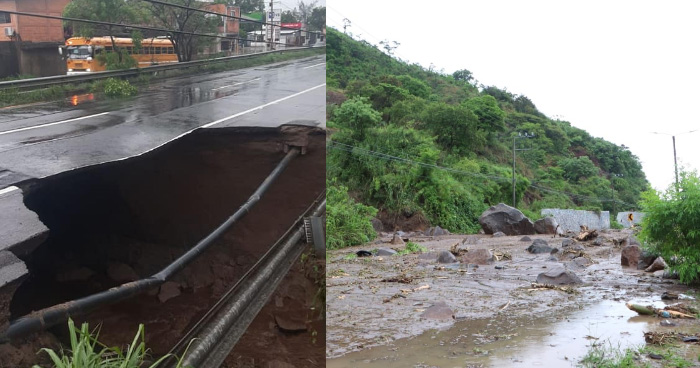 FOTOS: Cerradas carreteras Comalapa, Los Chorros y Quezaltepeque tras lluvias y deslaves