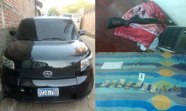 Incautan un vehículo, un fusil y dinero en efectivo en casa destroyer en Sonsonate