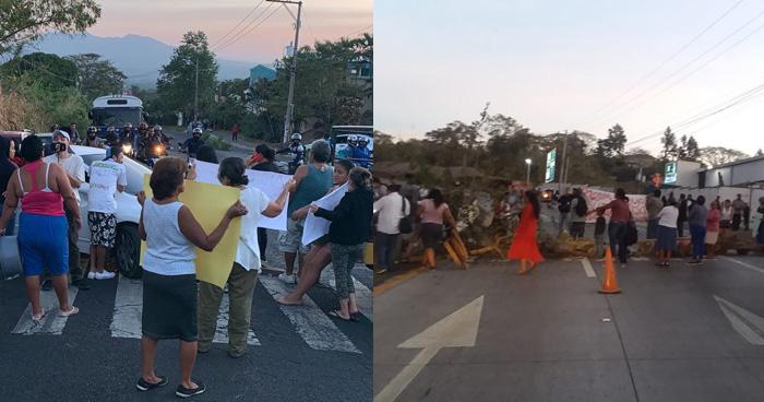 Protestan por falta de agua y cierran calle a Mariona y carretera al Puerto de La Libertad